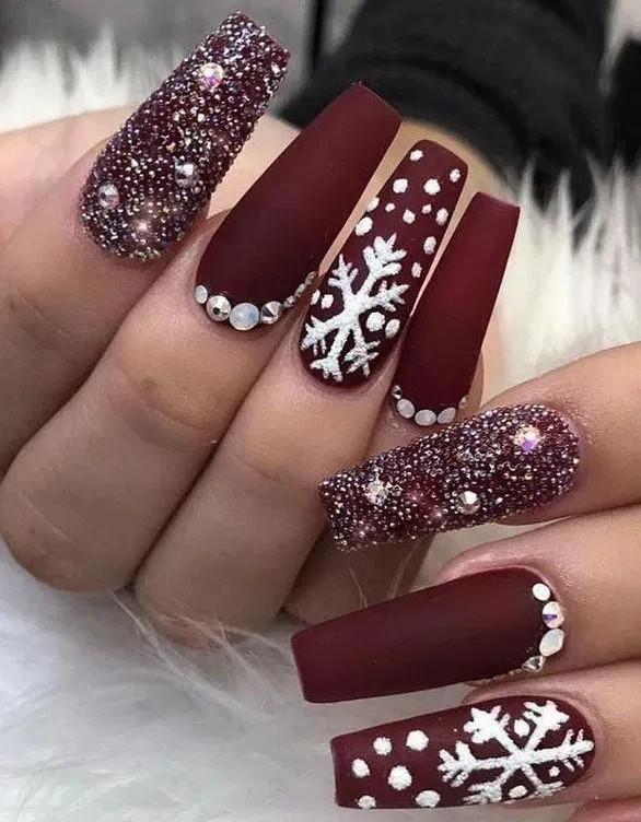 Long cute christmas acrylic nails