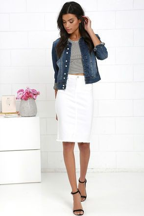 White denim pencil skirt, Denim skirt