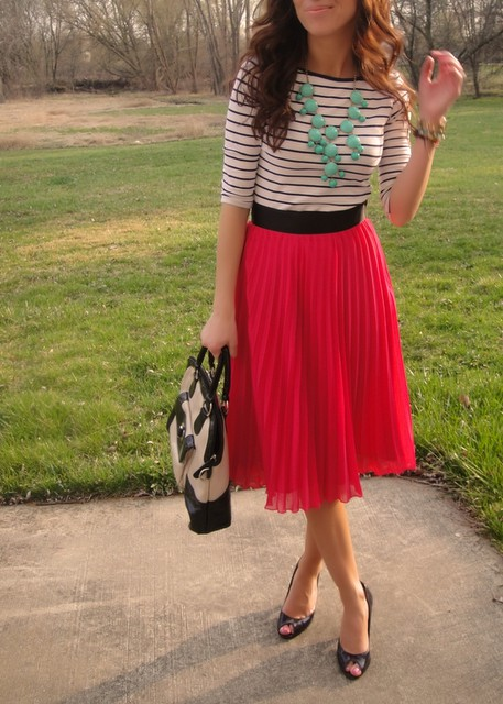 Coral and white striped skirt outfits