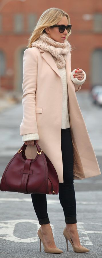 Crew neck Outfits With cream Suede Trench Coats, Winter clothing,