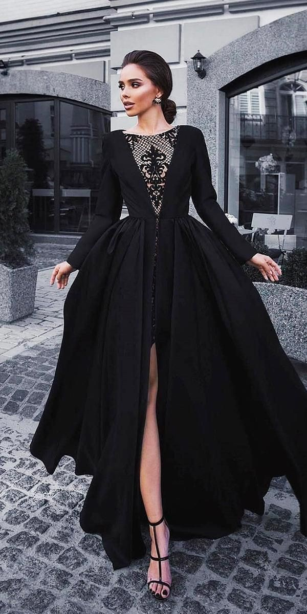 Black dress lovely with side slit