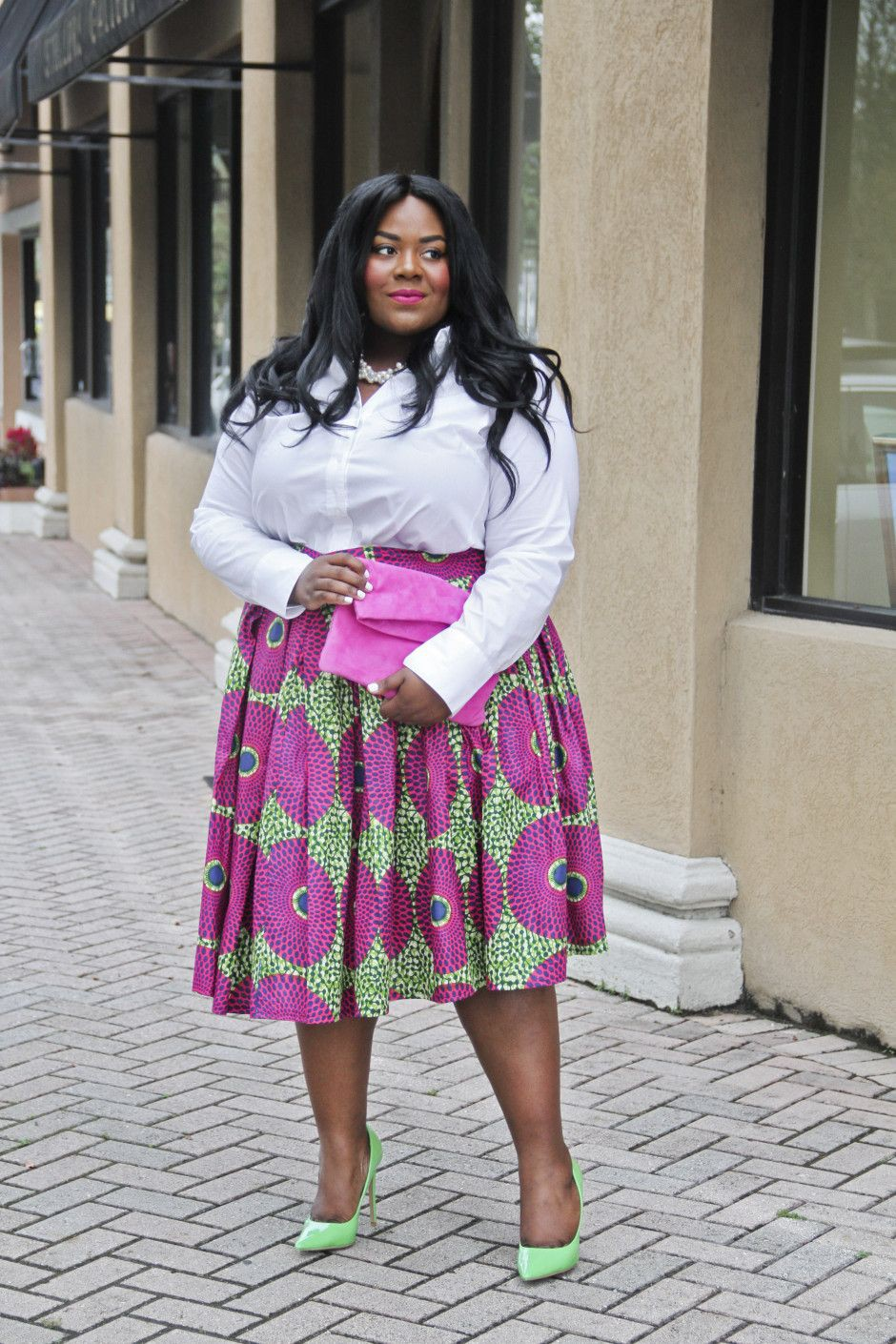 African print skirt plus size
