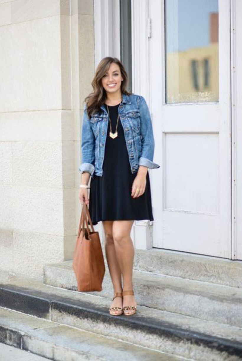 Dress and denim jacket outfit