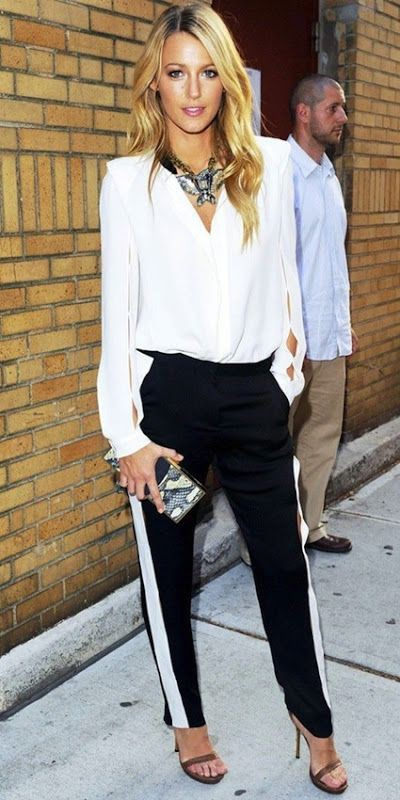 Black trousers white stripe outfit