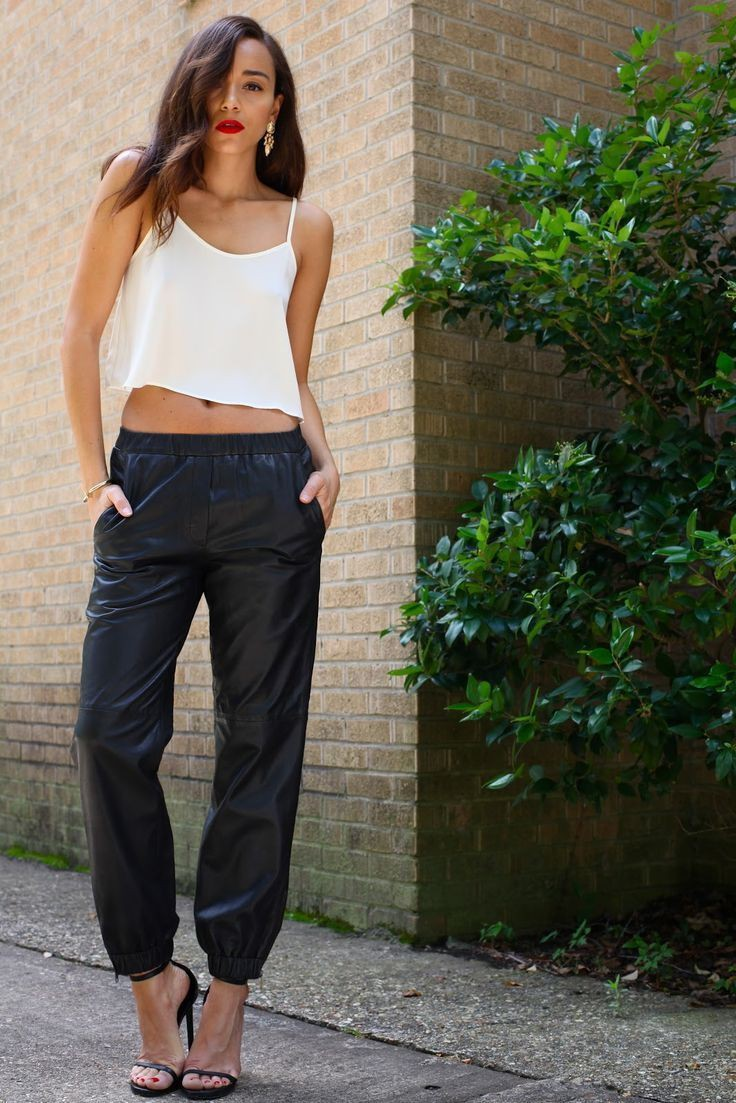 Classic & stylish topshop leather joggers, Crop top