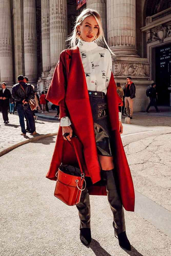Red and black outfit, Street fashion