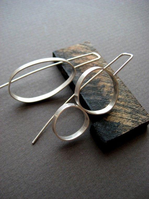 Asymmetrical Earrings Korean, Earrings : Big earrings, Sterling silver