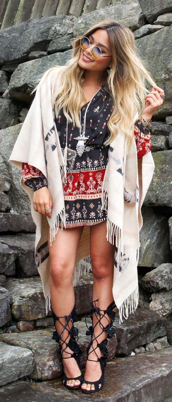 Boho chic bohemian outfit for girls