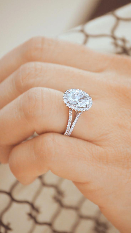 Split shank oval halo engagement ring