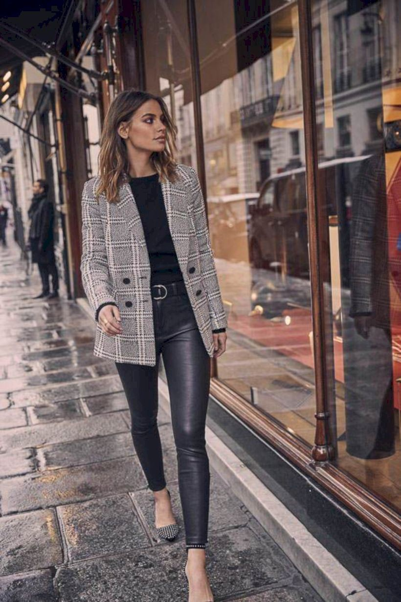 Way to wear fall blazer outfit, Fashion Leather Pants