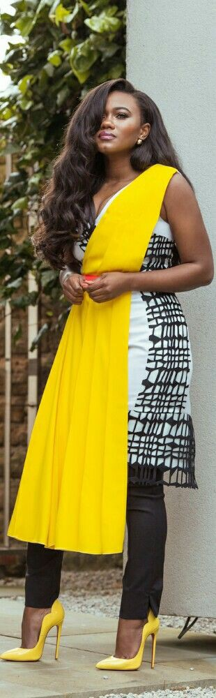 African dresses in yellow and white