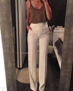 White high waisted dress pants
