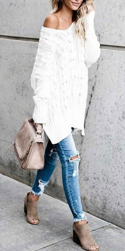 Fabulous & cool chunky sweater outfits, Casual wear
