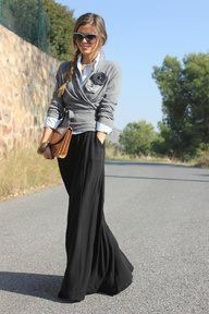 Maxi skirt work outfits, Casual wear