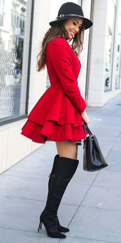 Red coat and thigh high boots