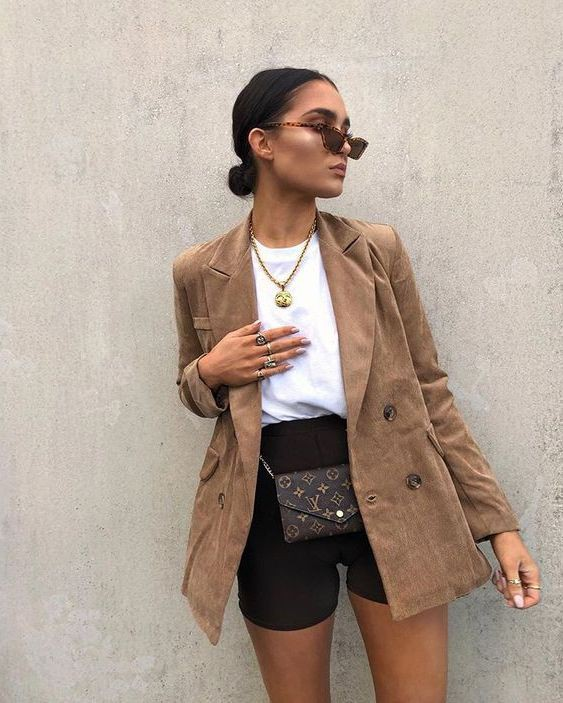 Casual Brown Blazer Outfits Female