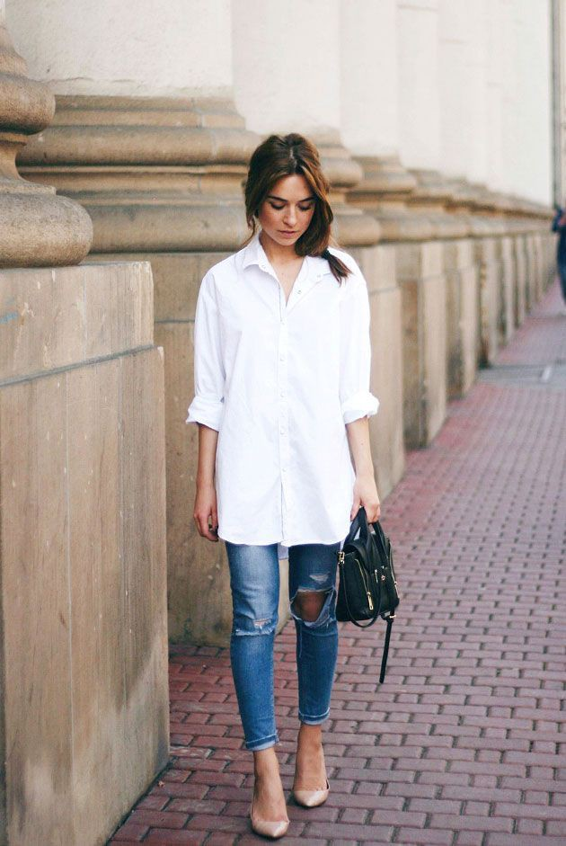 Long white shirt outfit, Dress shirt