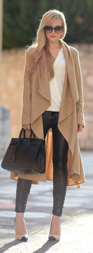 Long beige cardigan outfit, Street fashion