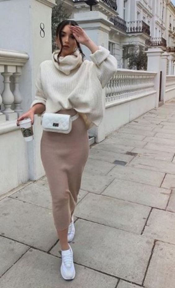 Long skirt winter outfit, Casual wear
