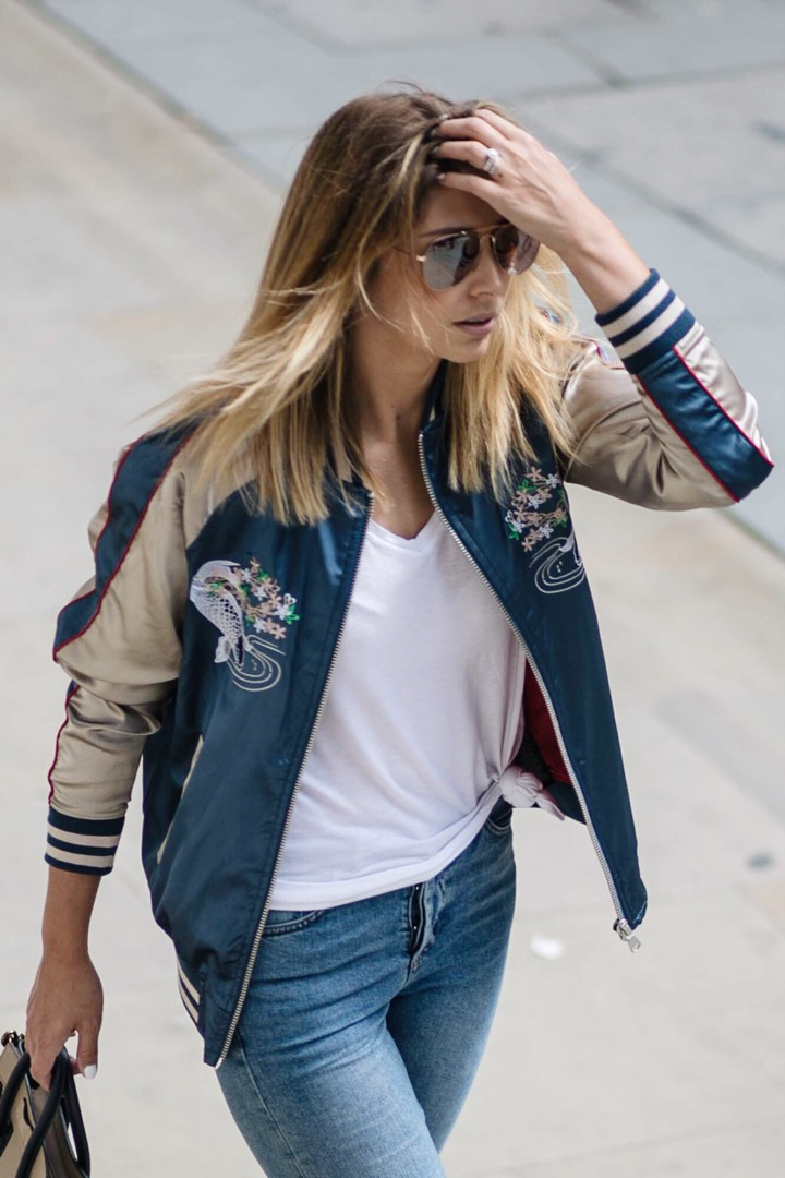 Satin bomber jacket outfit, Flight jacket