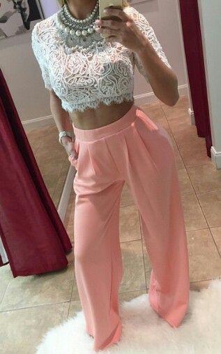 Crop top pantalones anchos elegantes