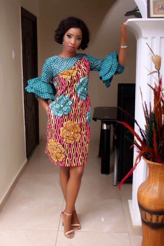Modele de robe pagne deux tons | Short African Dresses | African Dress, Robe Sexy, Short Dresses