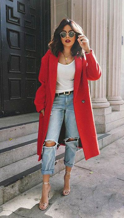 Red coat casual outfit ideas