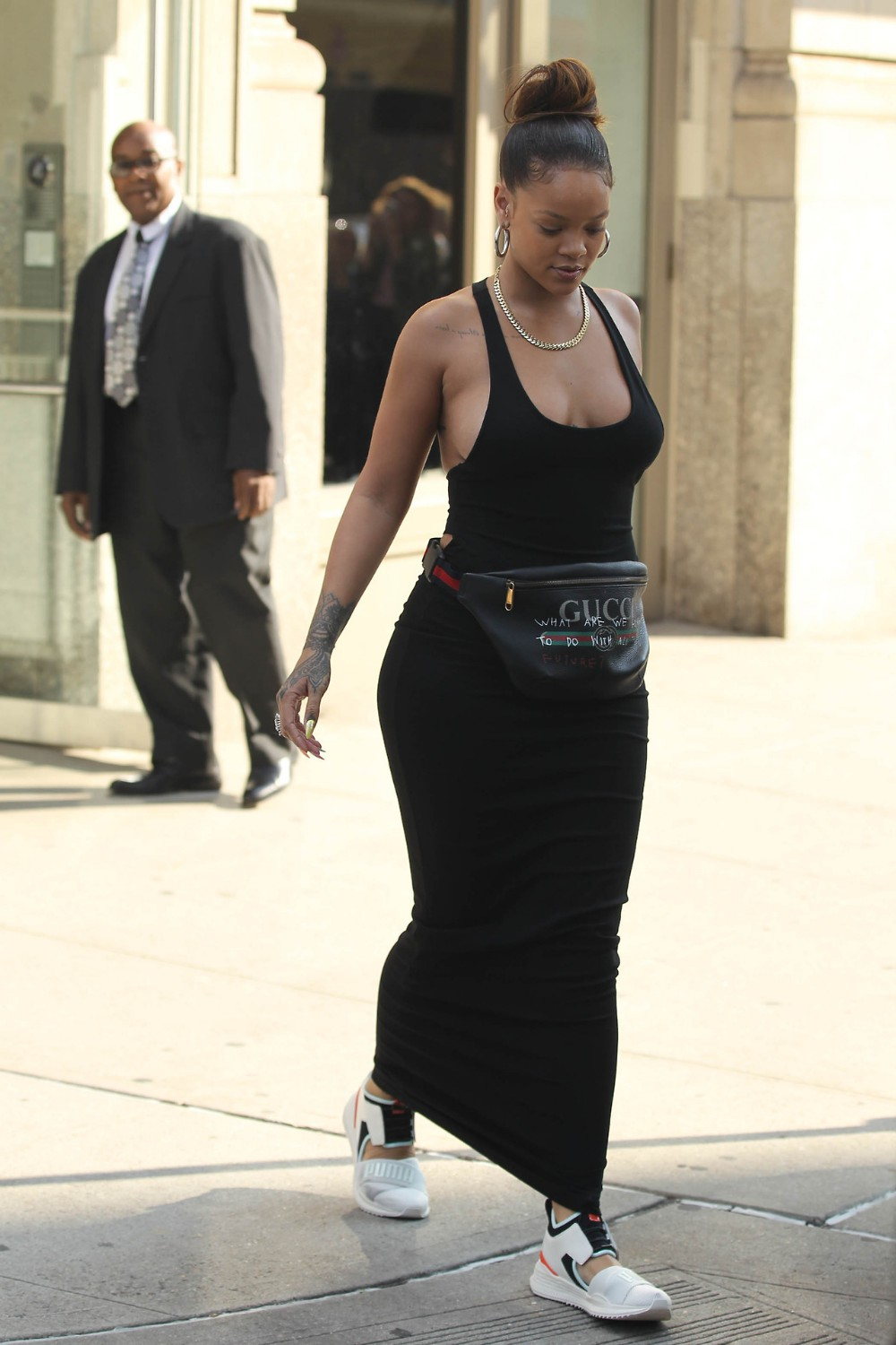 Rihanna black dress gucci bag