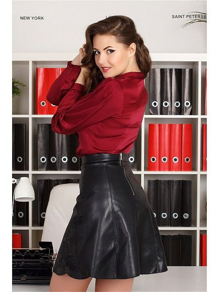 Black leather satin blouse and mini skirt