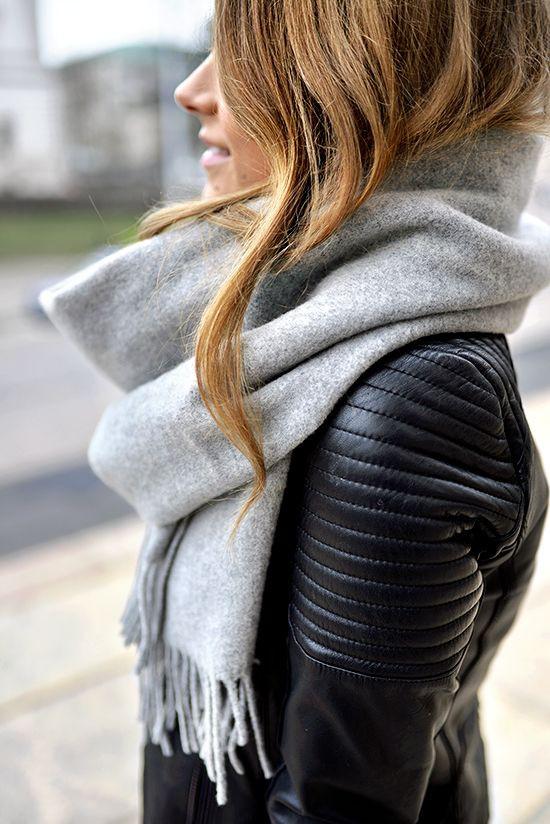 Leather jacket big scarf, Leather jacket
