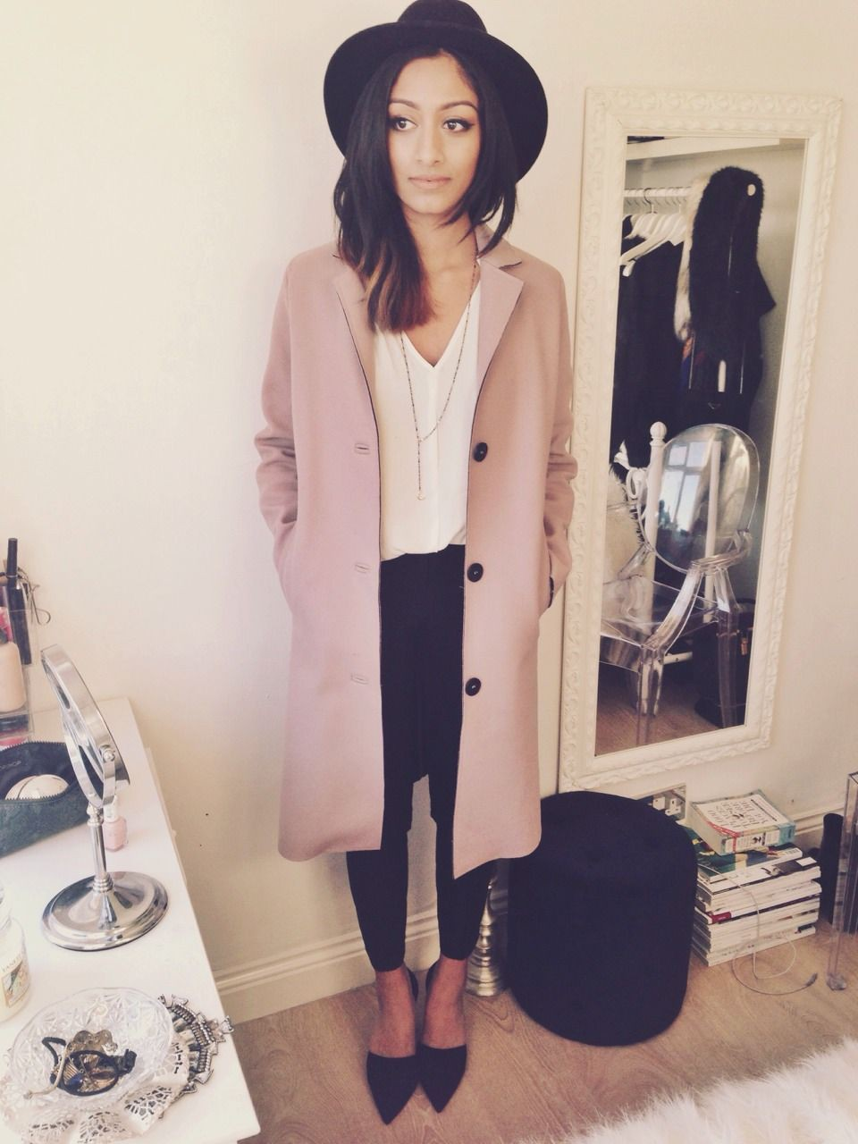Pastel pink and black outfit