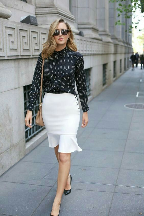 Casual style dressing flounce skirt outfit, Pencil skirt