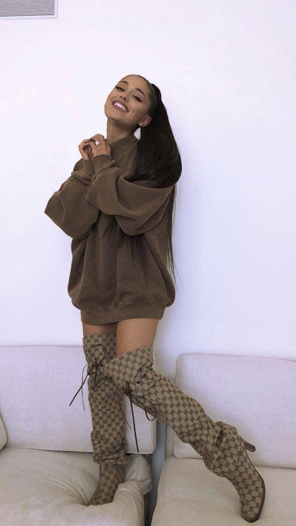 Rihanna knee high heels, Ariana Grande