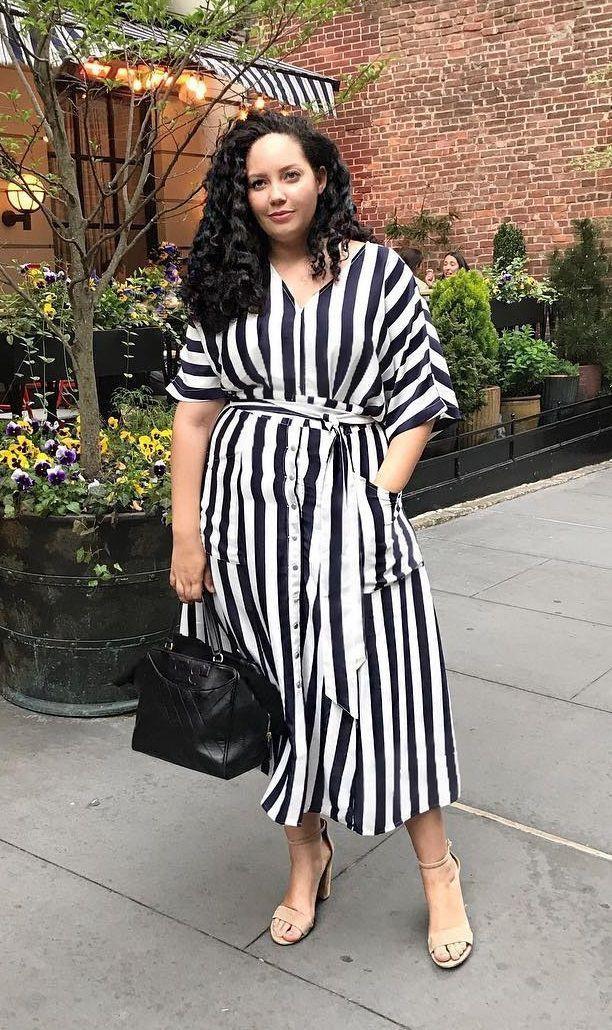 Plus size striped black and white dress