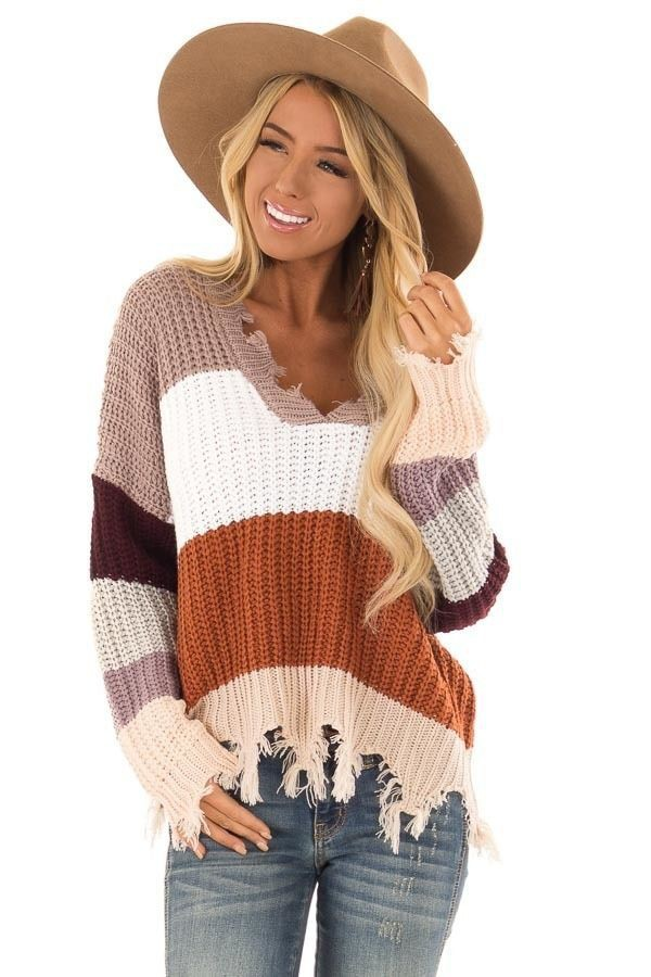 Most popular ideas for striped frayed sweater, Crew neck
