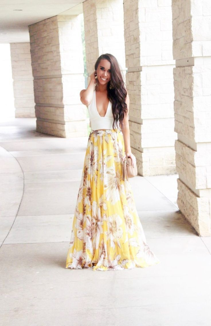 Have to checked these fashion model, Floral maxi skirt
