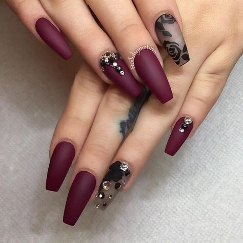 Check these Cocktail style maroon nail designs, Nail art
