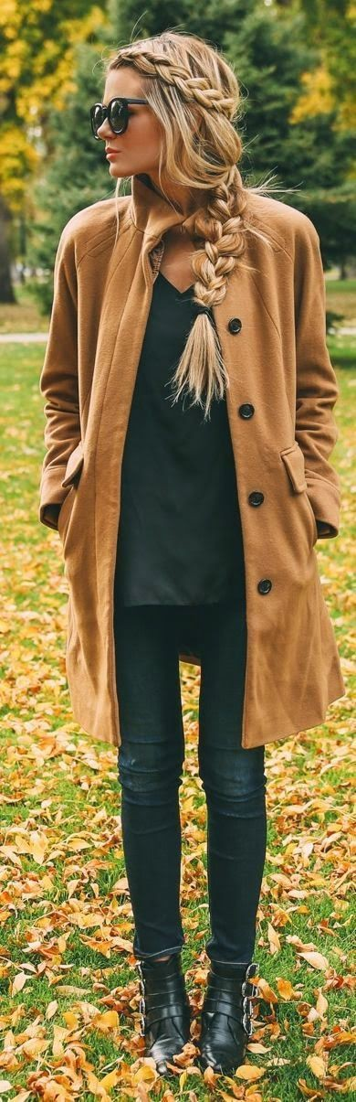 Fall outfits with braids, Long hair