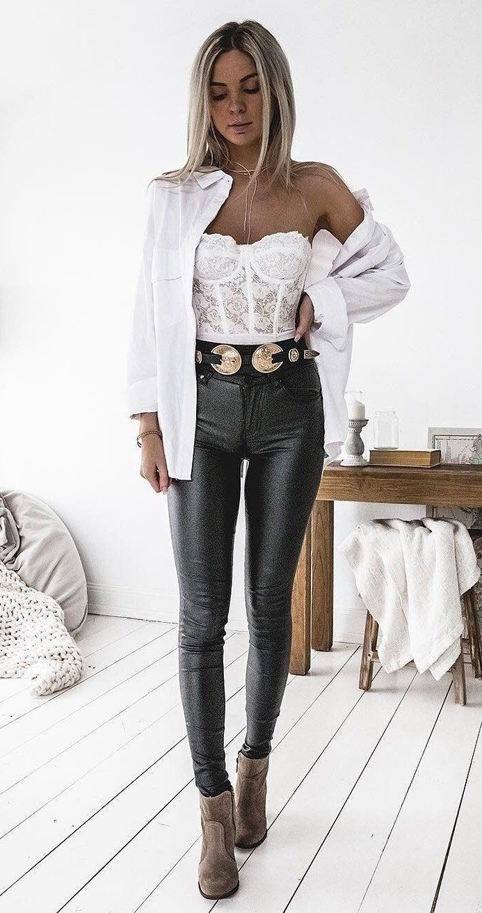 Cute Girls Most Liked Leather Paperbag Pants Paper Bag Leather Pant Outfits For Women Leather Pant Outfits Paper Bag