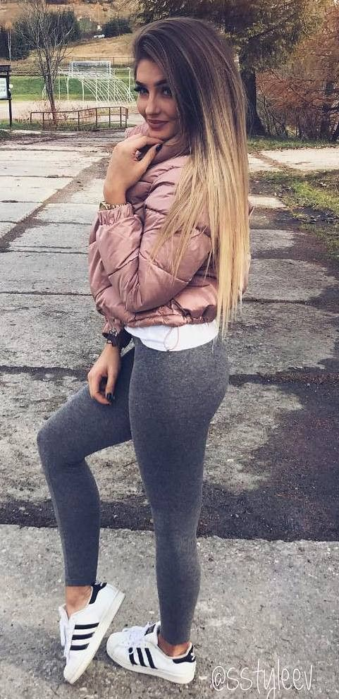 Winter clothing Outfit With Grey Leggings, Sports shoes