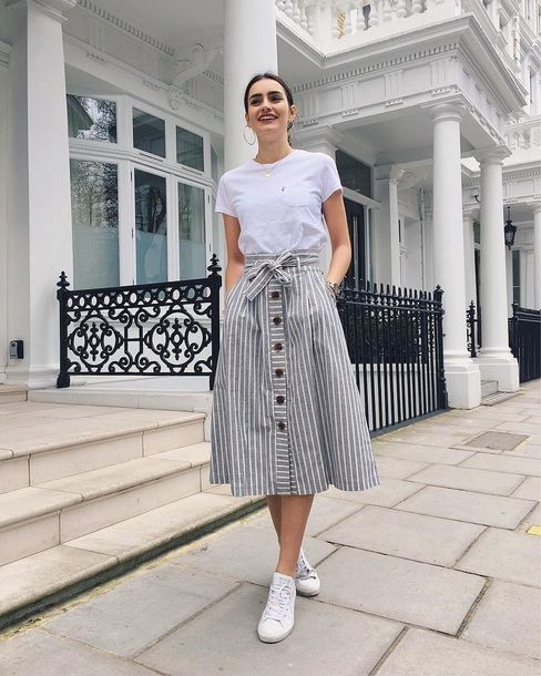 Grey and white striped skirt
