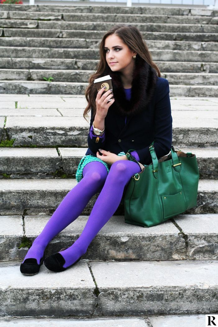 Irresistible fashion tips for purple tights outfit, Knee highs