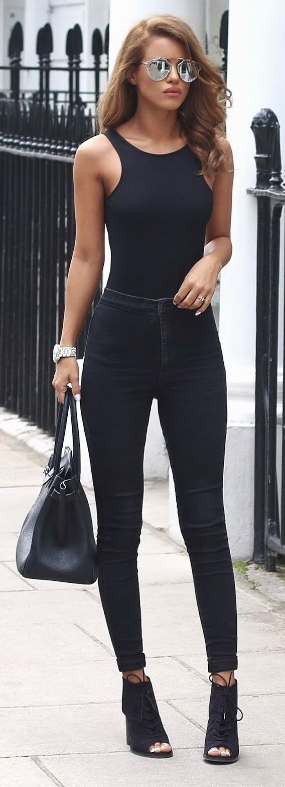 All black outfit women, Casual wear