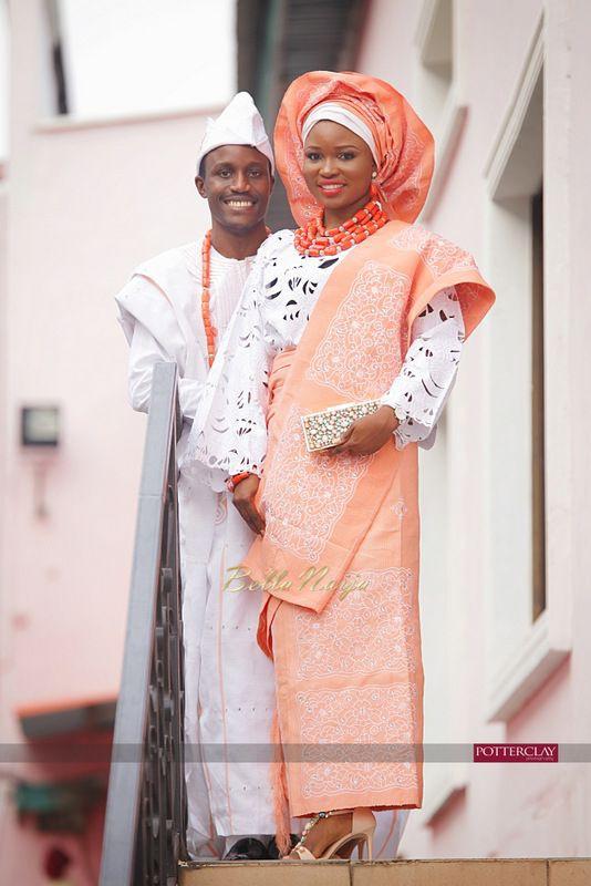 Groom bride yoruba traditional wedding attire
