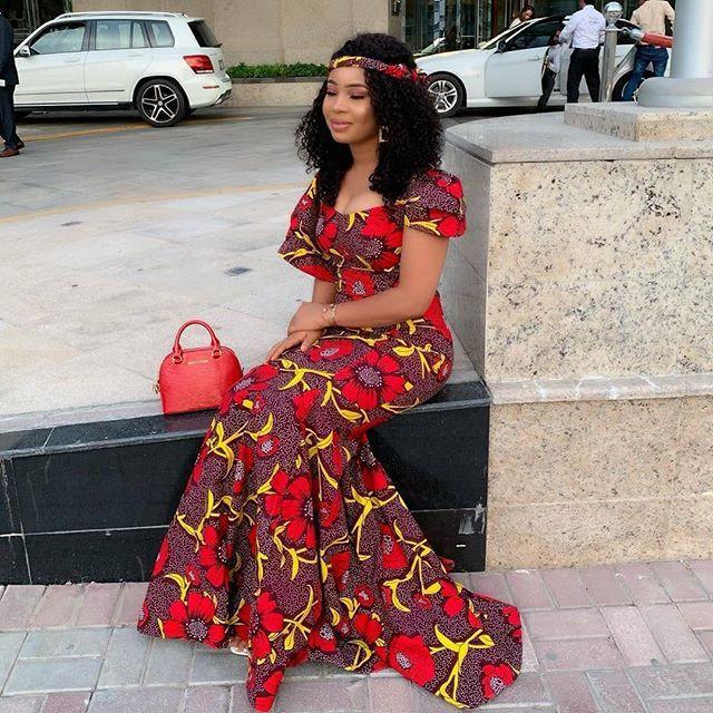 Ankara Gown Styles, African wax prints, Wedding dress