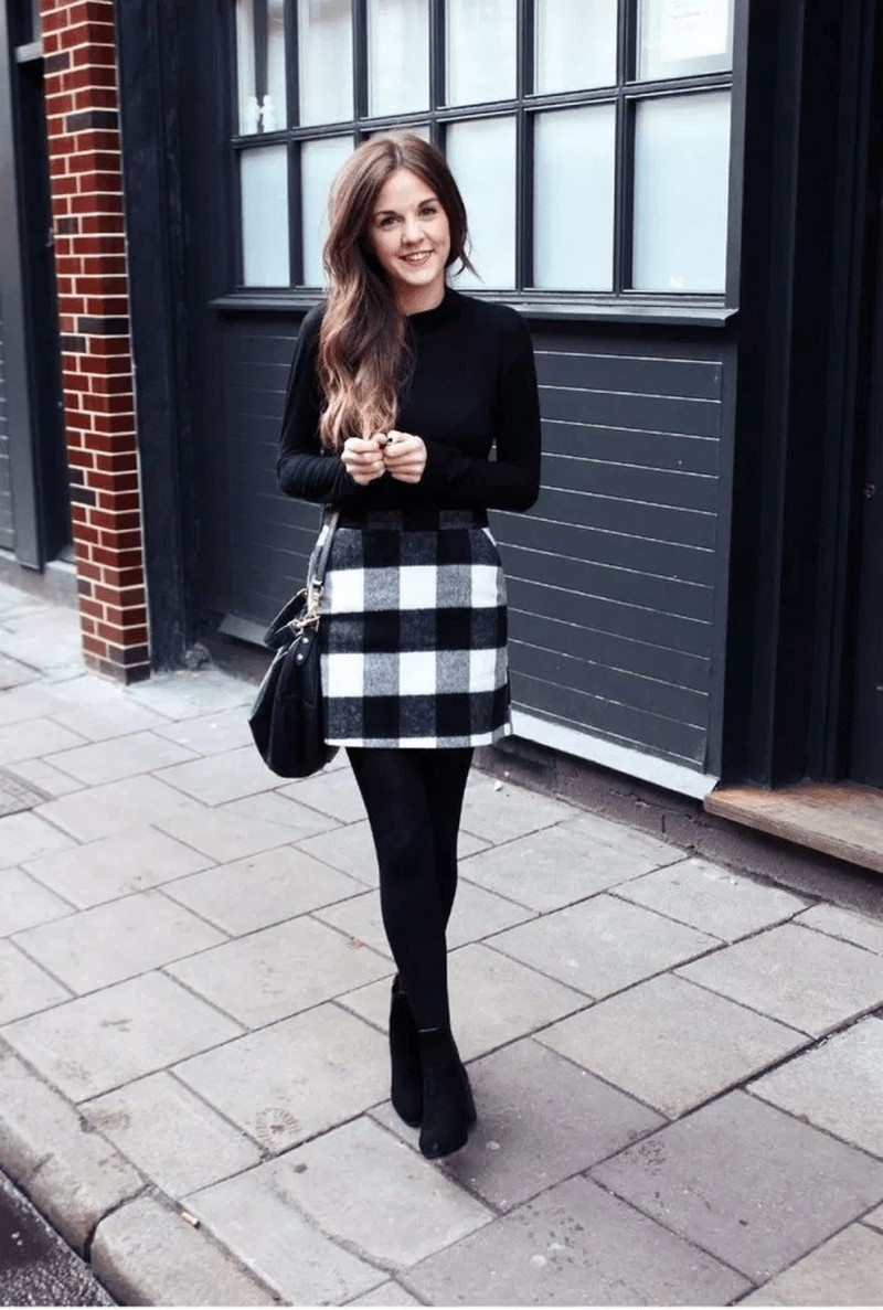 Casual wear Outfits With Tweed Wrap Skirts,