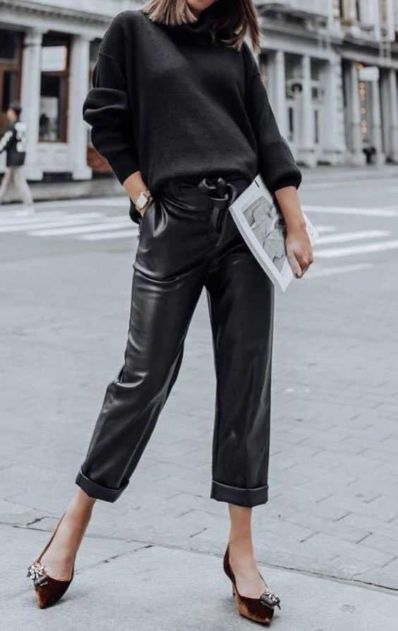 Pants outfit ideas how to wear leather pants 2019