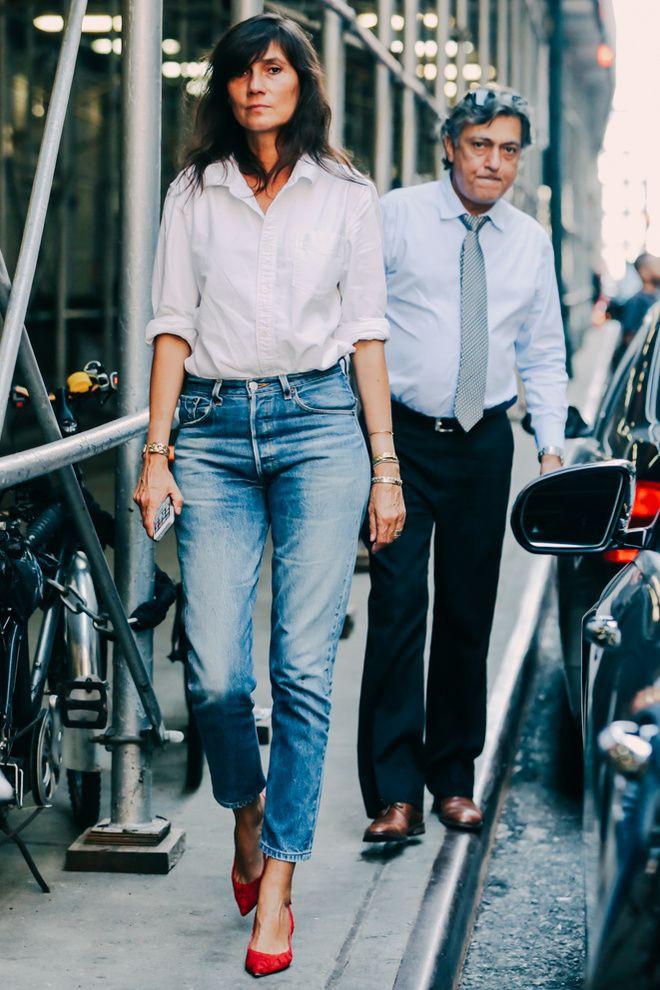 Emmanuelle alt white shirt, Emmanuelle Alt