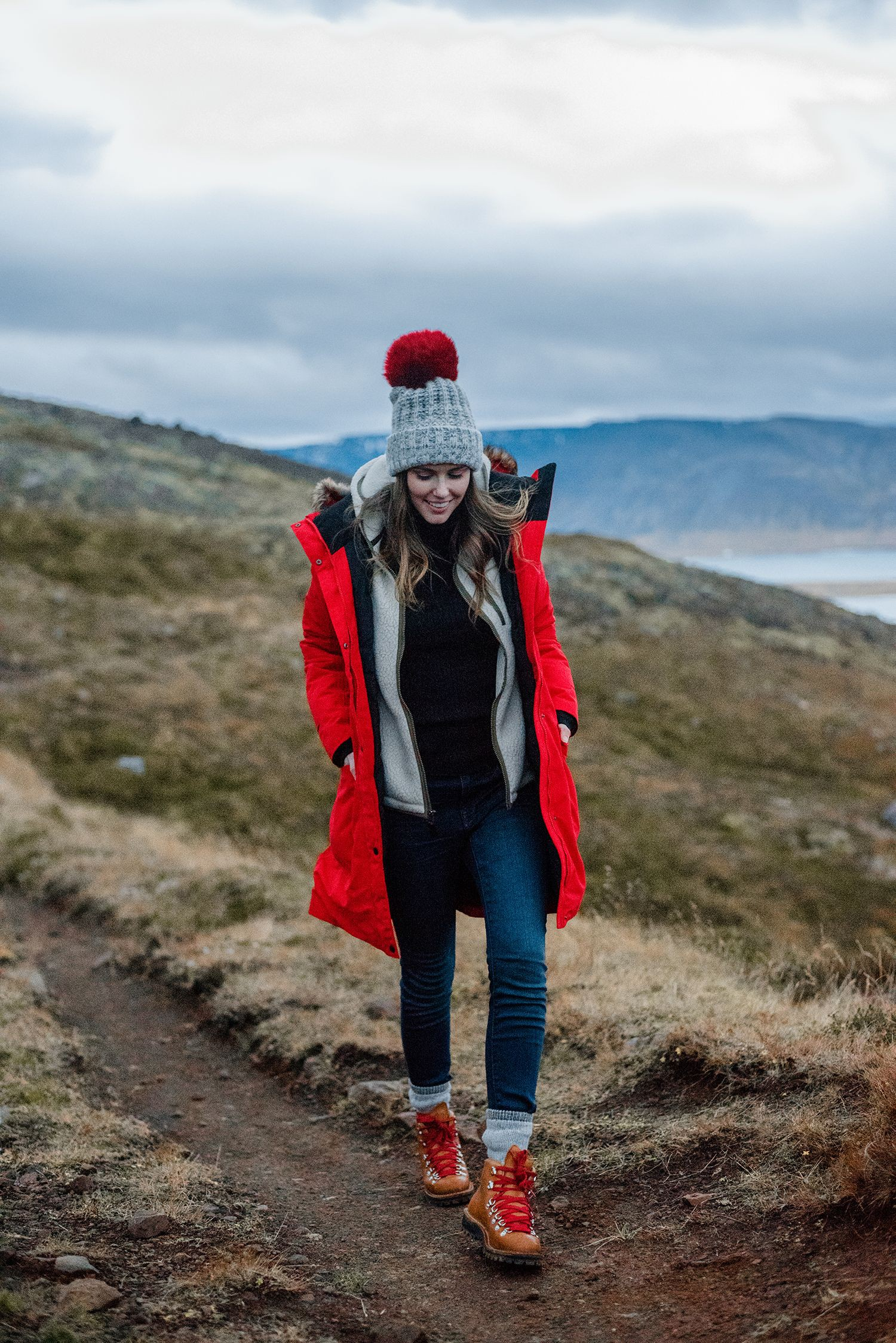 Red parka iceland winter, Canada Goose