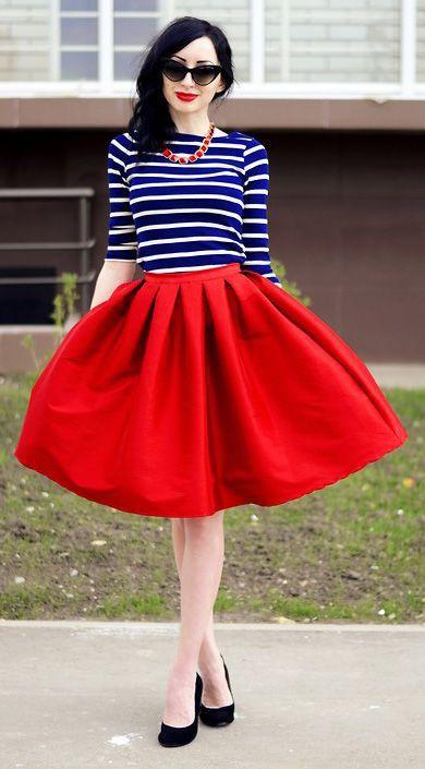 Great suggestion for party vestidos estilo parisino, A-Line Midi Skirt